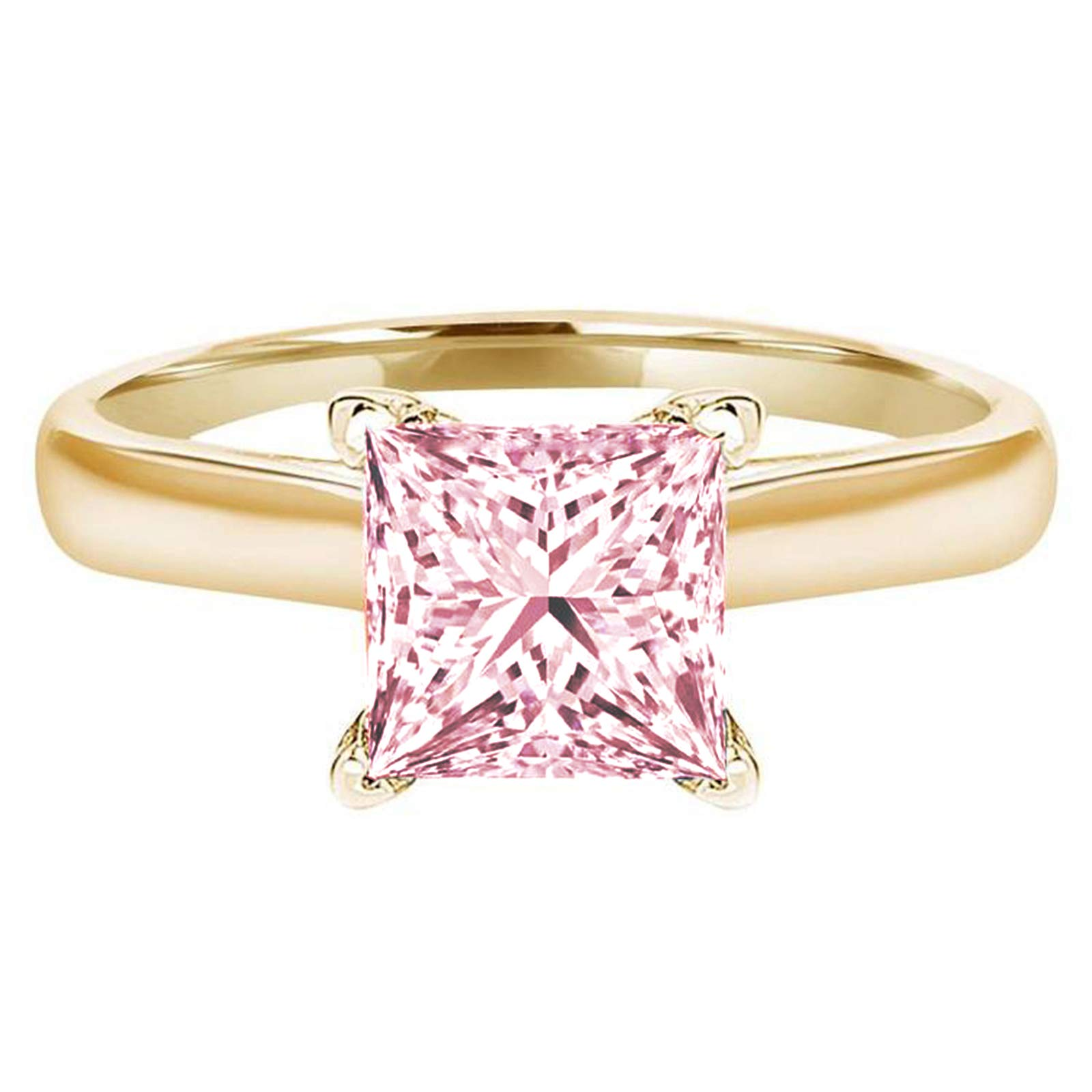 1.0 ct Brilliant Princess Cut Solitaire Pink Simulated Diamond CZ Ideal VVS1 D 4-Prong Engagement Wedding Bridal Promise Anniversary Ring Solid Real 14k Yellow Gold for Women