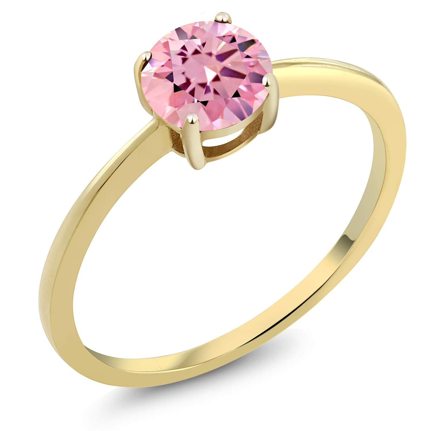 Gem Stone King 10K Yellow Gold 1.50 Ct Round Pink Zirconia Solitaire Engagement Ring