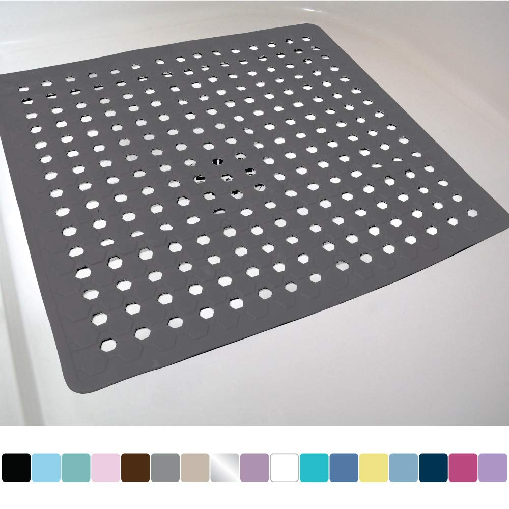 Gorilla Grip Original Patented Bath, Shower, and Tub Mat, 21x21, Machine Washable, Antibacterial, BPA, Latex, Phthalate Free, Square Bathroom Mats with Drain Holes, Suction Cups, Charcoal Opaque