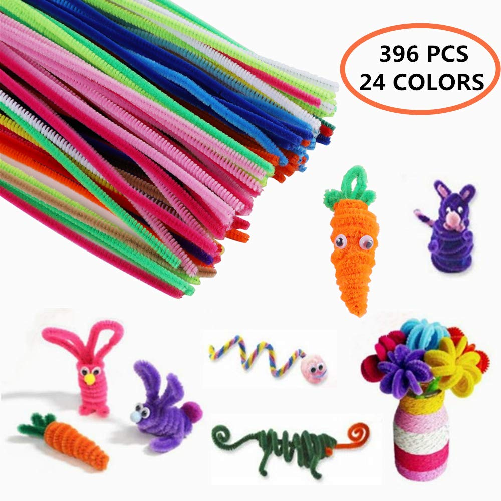 Creativity Craft Chenille Pipe Cleaners - 396 pcs 24 Colors with Wiggle Googly Eyes for DIY Art and Crafts Creative Projects and Decorations Smooth at Both Ends No Damage/Hurt(6mm x 12inch)