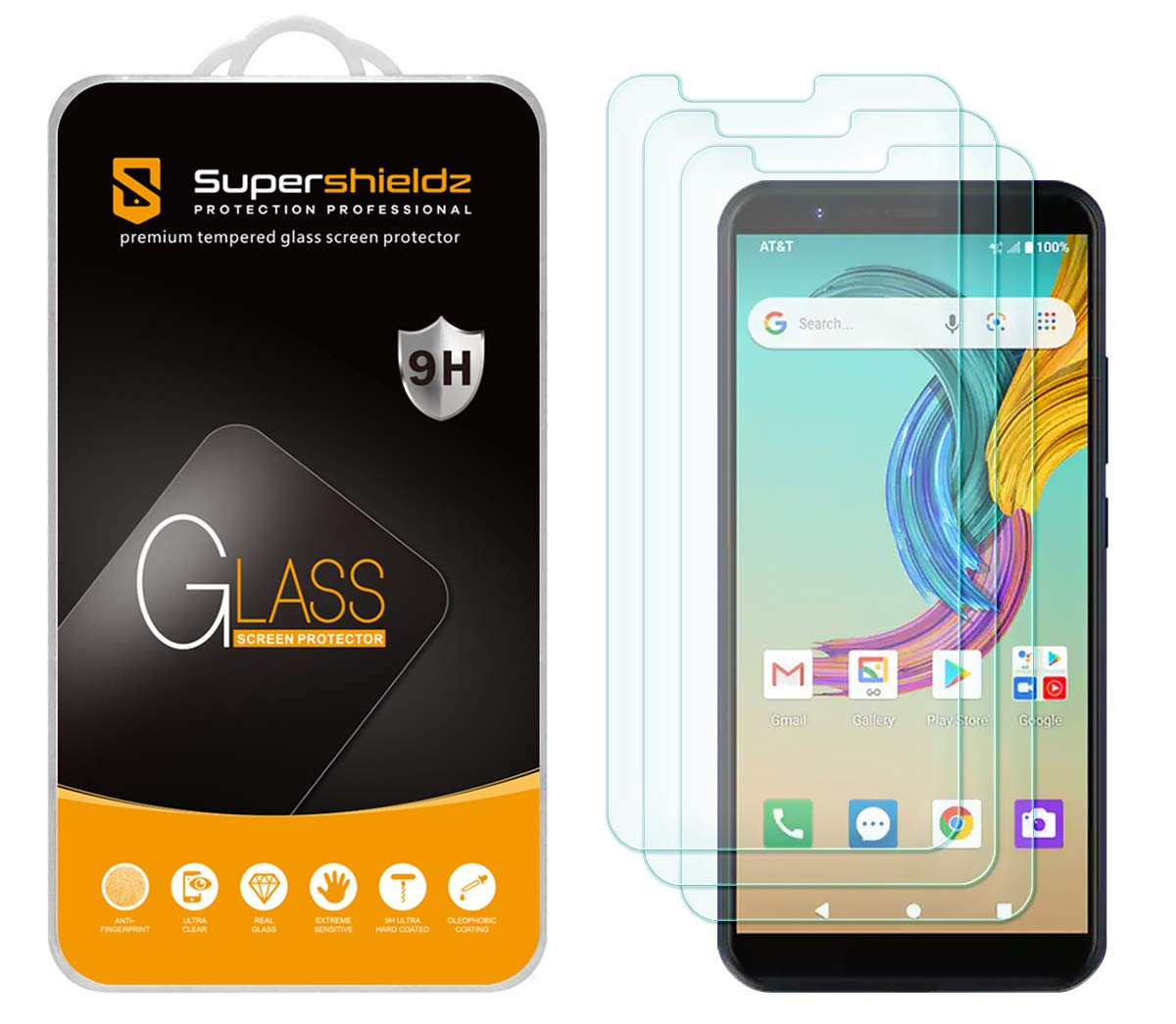 (3 Pack) Supershieldz for AT&T Fusion Z Tempered Glass Screen Protector, Anti Scratch, Bubble Free