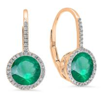 Dazzlingrock Collection 10K 7 MM Each Round Lab Created Gemstone & White Diamond Ladies Hoop Earrings, Rose Gold