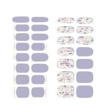 [N Amethyst] Real Gel Nail Strip by ohora - 30pcs with Prep pad, Mini nail file, Wood stick, DIY Nail Art Starter Kit, No Glue, Non Soak-off