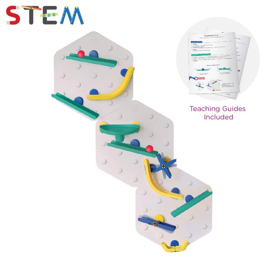 ORIBEL VertiPlay STEM Marble Run | Learning Toy | Stick & Play Wall Toy (Triple Fun, Bold Crayon)