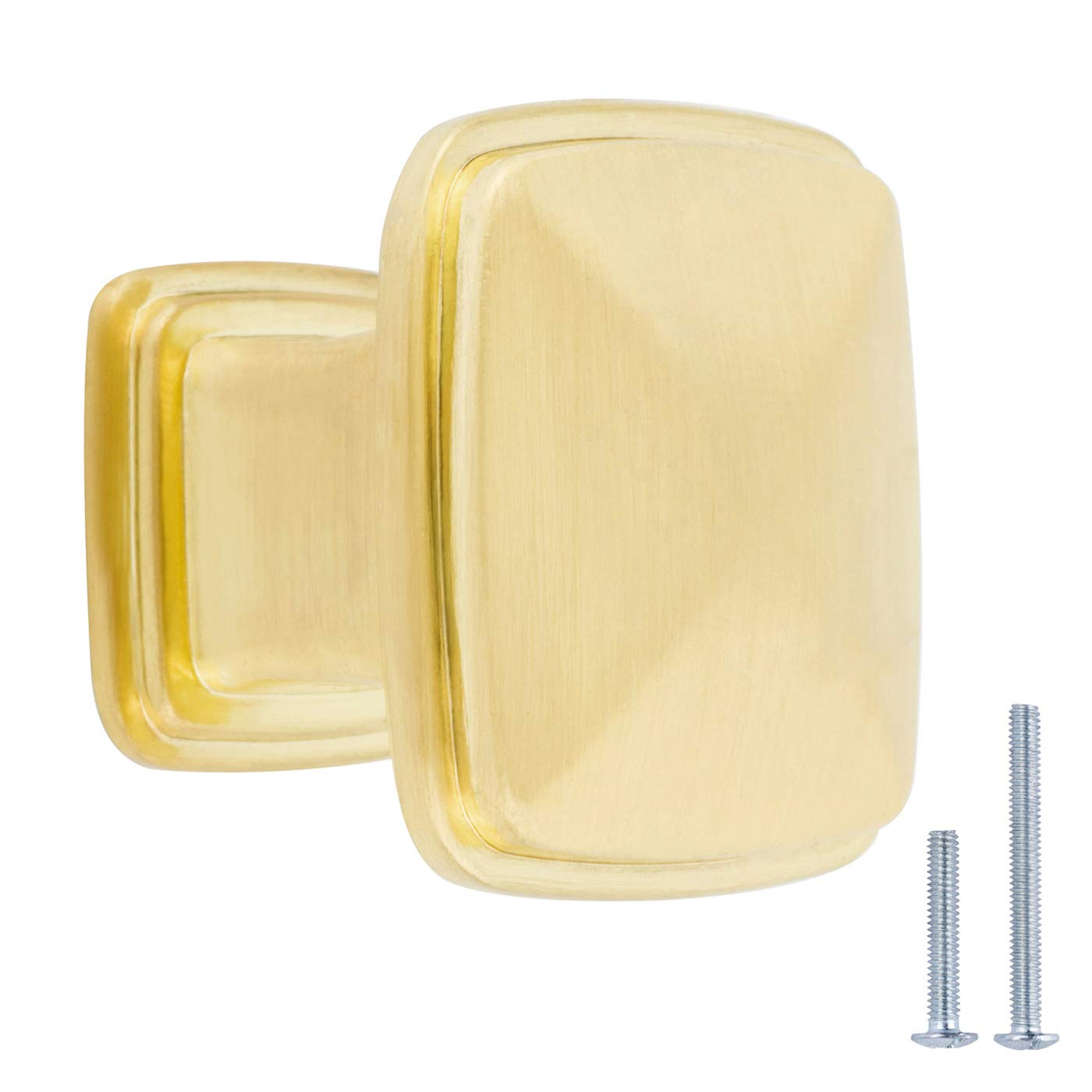 AmazonBasics Traditional Square Cabinet Knob, 1.25-inch Diameter, Brushed Brass, 10-pack