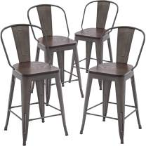 TONGLI Metal Counter Height Bar Stools Kitchen Counter Stools Set of 4 Dining Kitchen Chairs High Back 24 Inches Bar Chairs Stools Rusty, High Back