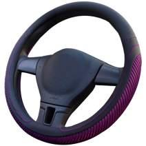 coofig Black Microfiber Leather Steering Wheel Cover Breathable Auto Car Steering Wheel Cover for Men Universal 15 Inches Red(Ice Slik)