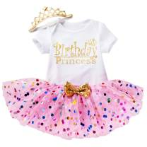 Toddler Baby Girl's Birthday Outfits 1st Birthday Short Sleeve Romper+Dot Mesh Tutu Skirt+Crown Headband Clothes Set