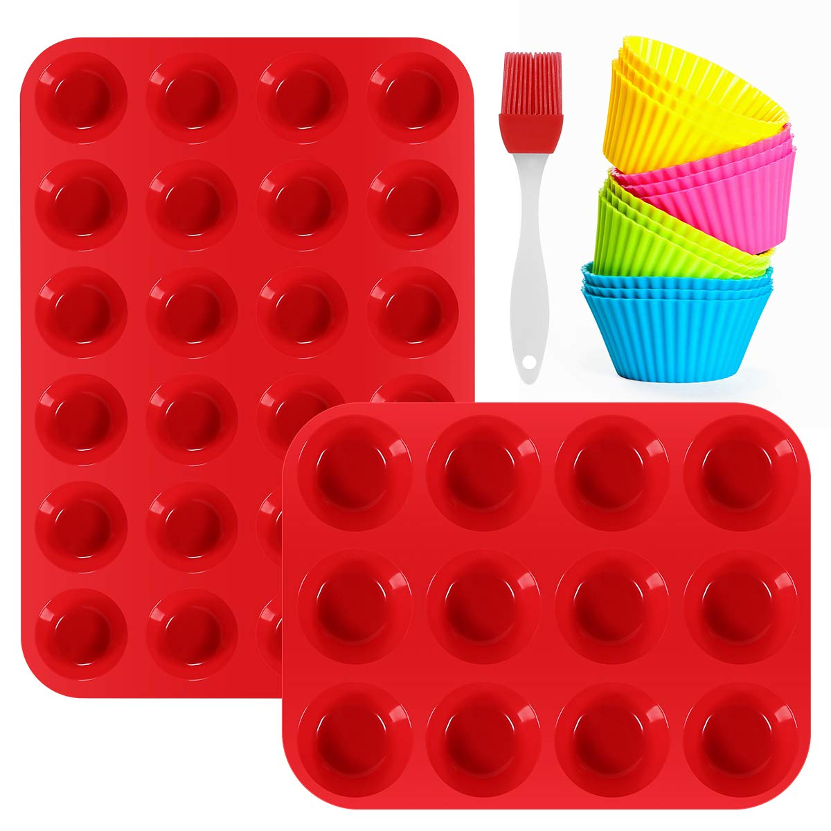 Silicone Muffin Pan Set - 12 Cups & 24 Cups Cupcake Pan, NonstickBest Muffin Pan Baking Trays Silicone Baking Molds with 12 Silicone Baking Cups & Cleaning Brush by WINBLO