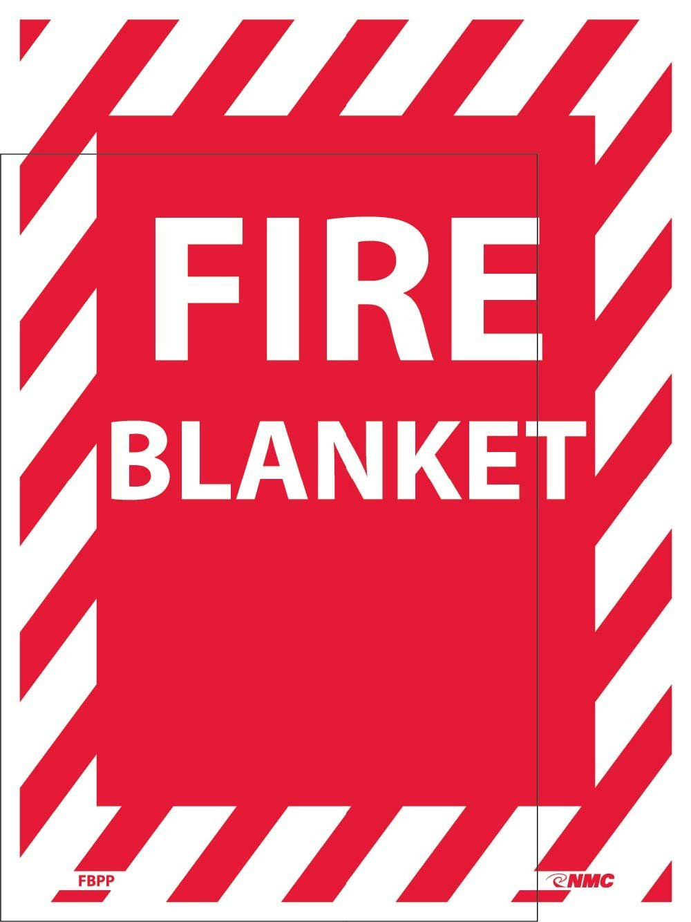 NMC FBPP FIRE Blanket Sign - 9 in. x 12 in. Adhesive Backed Vinyl Fire Safety Sign with White Text on Red Base