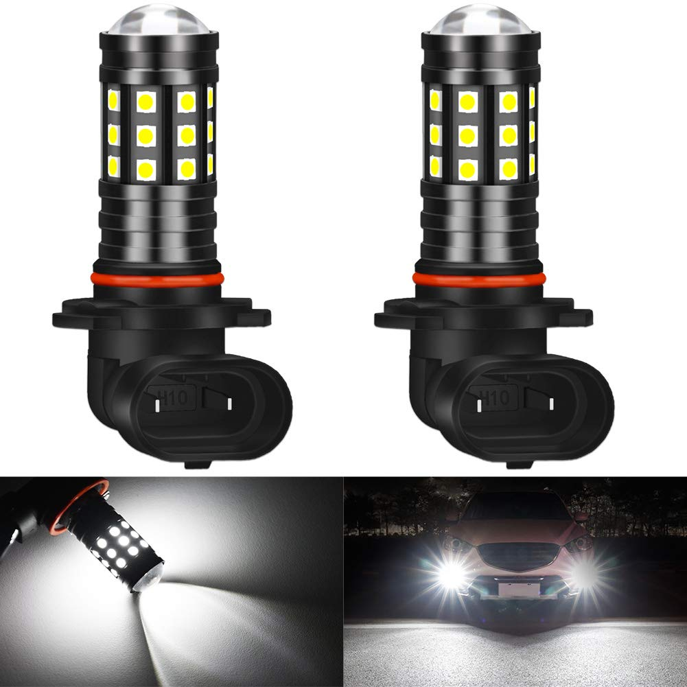 KATUR H10 LED Fog Light Bulbs High Power 3030 Chips Super Bright 2700 Lumens with Projector for Driving Daytime Running Lights DRL or Fog Lights,6500K Xenon White(Pack of 2)