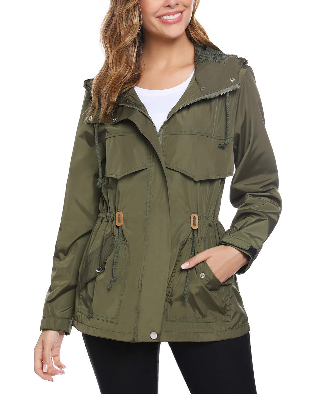 Hawiton Women's Lightweight Hooded Raincoat Waterproof Active Outdoor Windbreaker Rain Jacket