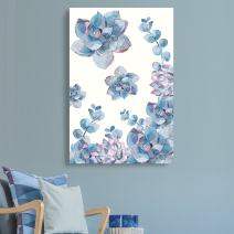 """wall26 Canvas Wall Art Succulent Plants Series - Watercolor Succulents on White Background - Giclee Print Gallery Wrap Modern Home Decor Ready to Hang - 24"""" x 36"""""""