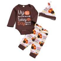 Newborn Baby Boy Girl Clothes My 1st Turkey Day Romper Top+Turkey Pant+Turkey hat 3PCS Baby Thanksgiving Outfits Set