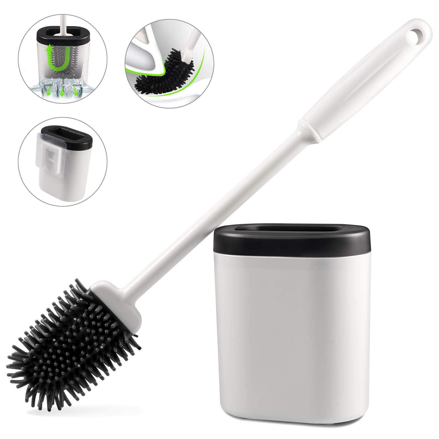 Foonii Toilet Brush and Holder Set, Silicone Bristles Toilet Bowl Cleaner Brush Kit with Holder for Bathroom Storage and Organization, Carrying Solid Anti-Rust Handle Design