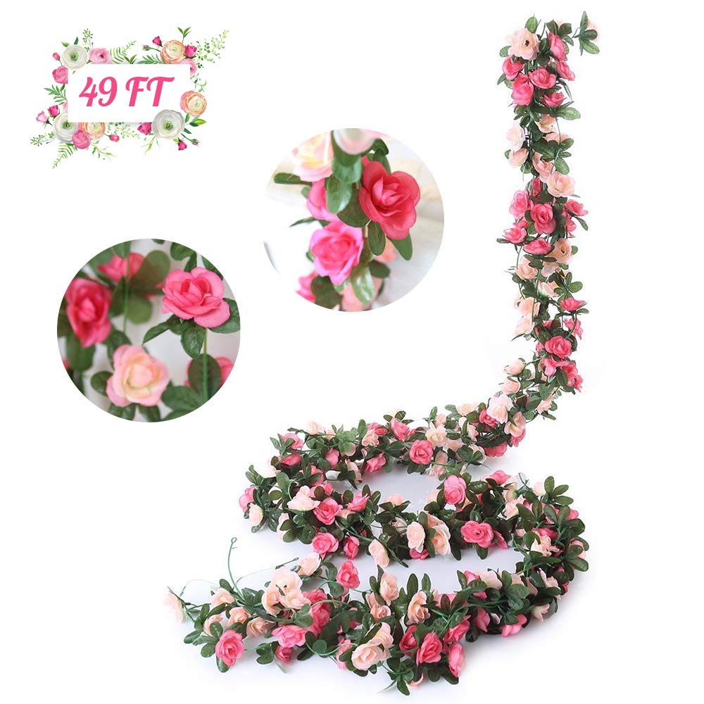 BigOtters 6 Pack Fake Rose Vine, 49FT Artificial Flower Hanging Plants for Home Wedding Garden Decor with Vivid Butterfly and Twist Ties