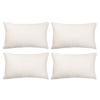 Set Of 4 Decorative Lumbar Throw Pillow Covers 12 X20 No Insert Solid Cozy Corduroy Corn Stripe Accent Pillow Case Shams Soft Rectangle Cushion Covers With Zipper For Couch Sofa Bedroom Cream White