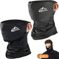 2 Pack Non Slip Neck Face-Gaiter-Scarf Tube Face-Bandana-Mask Summer Breathable Half-Balaclava