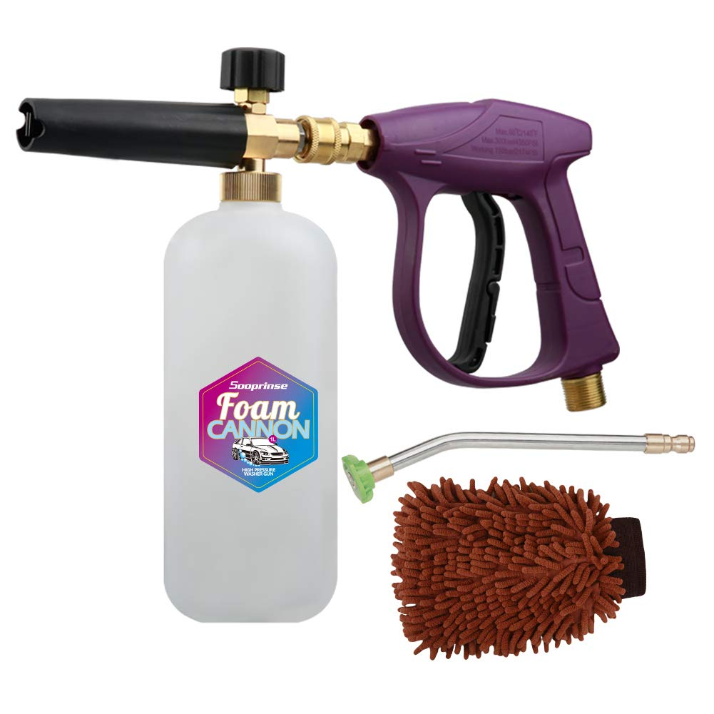 Sooprinse Foam Cannon Snow Foam Lance Nozzle Pressure Washer Jet Wash,Foam Cannon Lance kit with Pressure Washer Spray Gun,30 Degree Gutter Cleaner Wand with Nozzle Tip Attachment