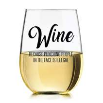 Wine Because Punching People in the Face is Illegal Funny Wine Glass 15oz Tumbler by Momstir