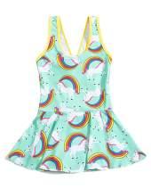 JiaDuo Girls One Piece Swimsuit Rainbow Unicorn Swimwear Kids Beach Bathing Suit