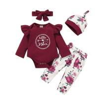 Baby Girl Clothes Newborn Short Sleeve Ruffle Romper Jumpsuit Floral Pants Headband Set Infant Girl Outfits