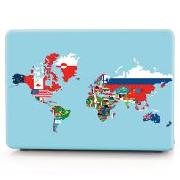 "HRH Map of World with Flags in Relevant Countries Laptop Body Shell Protective PC Hard Case for MacBook Old Pro 15"" 15.4 inch (with CD-ROM Drive Model A1286)"