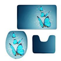 CHAQLIN Blue Butterfly 3 Pcs Soft Non Slip Flannel Bath Rug Set Bathroom Mat Contour Rug Toilet Lid Cover