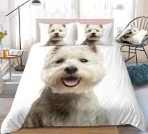 White Dog Bedding Queen Kids Animal Duvet Cover Set West Highland White Terrier Printed Pet Themed Bedding Sets for Boys Girls 1 Duvet Cover 2 Pillowcases (White, Queen)