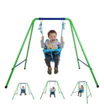 Toddler Swing Set, Folding Toddler Swing Playset Blue Secure Swing Set with Safety Seat for Baby/Chirldren's Gift, Swing Sets for Garden, Backyard( 9-36 Month Toddler)