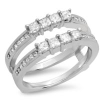 0.90 Carat (ctw) 10K Gold Princess Cut White Diamond Ladies Wedding Band Enhancer Guard Double Ring
