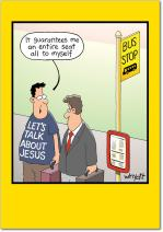 Bus Stop - Hilarious Religious Birthday Card with Envelope (4.63 x 6.75 Inch) - Funny Jesus T-Shirt Humor, Happy Bday Note Card for Kids, Adults - Funny Cartoon B-day Congratulations Stationery 8353