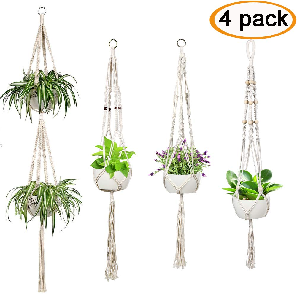 Accmor 4 Pack Macrame Plant Hanger Indoor Outdoor Wall Hanging Plant Holder Hanging Stand Flower Pots Planter for Decorations - Boho Home Decor