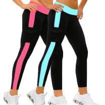 iloveSIA Women's Yoga Leggings Athletic Pants with Pocket Pack of 2