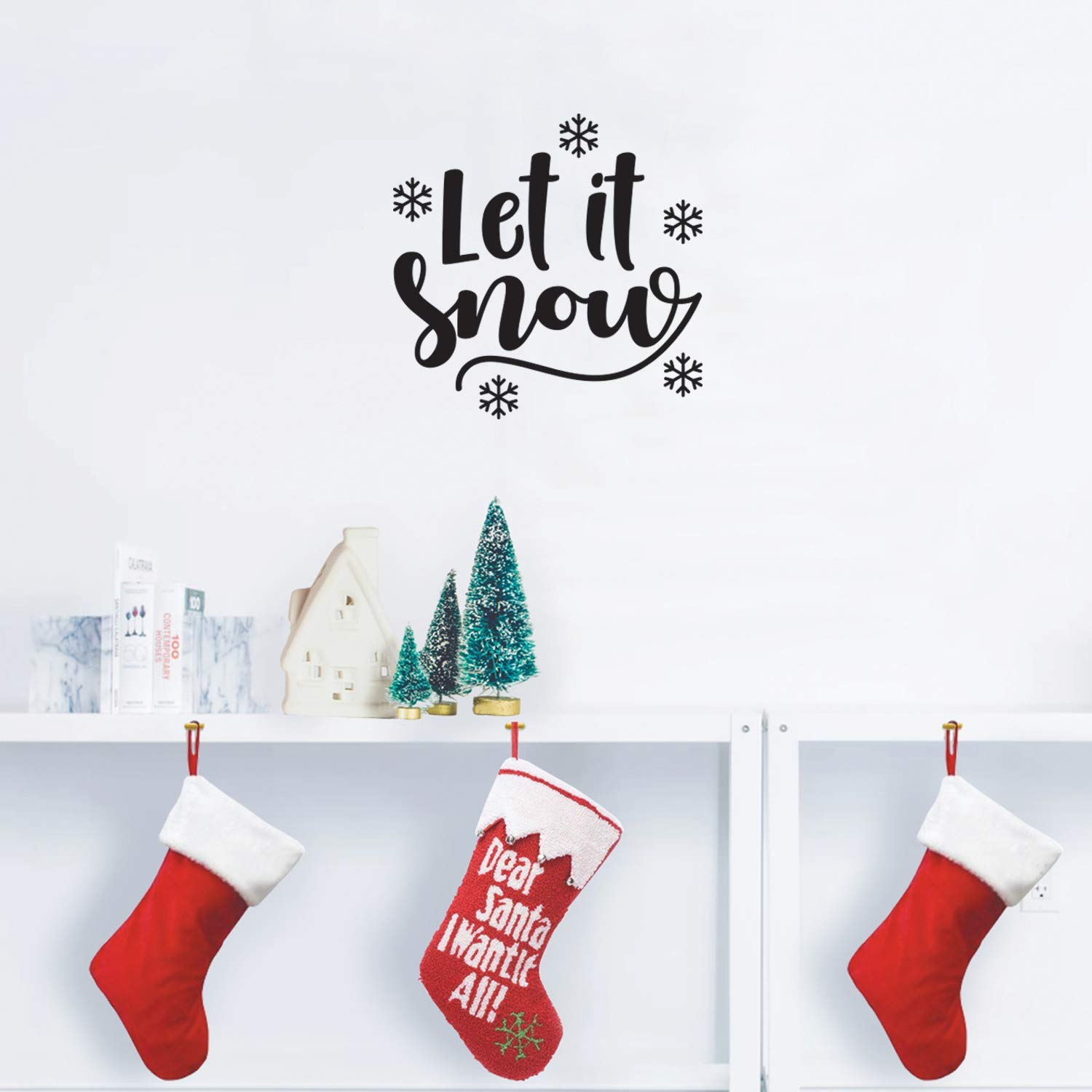 """Vinyl Wall Art Decal - Let It Snow - 17"""" x 17"""" - Cute Christmas Winter Quote for Home Living Room Front Door Coffee Shop Store Seasonal Decoration Sticker (Black)"""