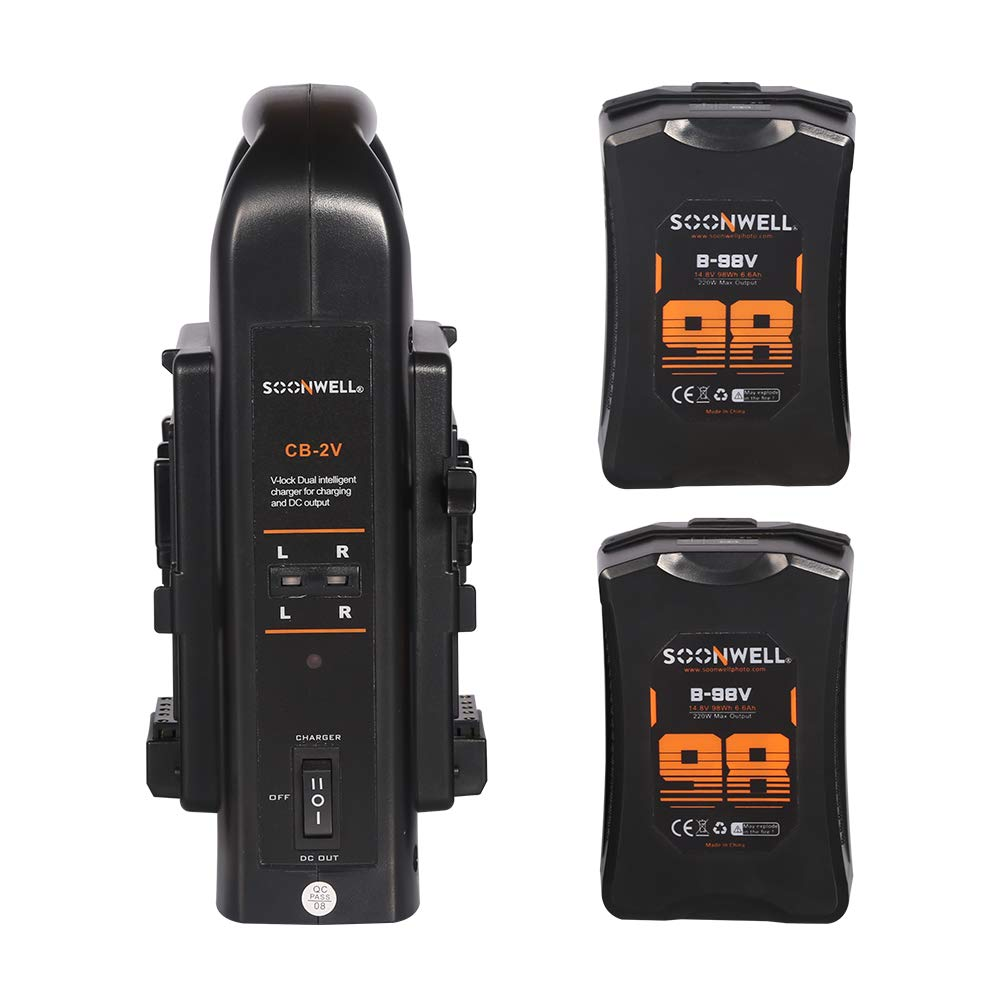 SOONWELL 2 X 98Wh B-98V 14.8V V-Mount Lithium-Ion Battery with Dual Simultaneous V-Mount Battery Charger 4-Pin XLR Output
