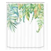 LB Tropical Green Leaves Shower Curtain Set Fresh Palm Leaf Watercolor Palnts Shower Curtains with Hooks Summer Bathroom Curtain Backdrop,59Wx70H Waterproof Fabric Shower Curtain