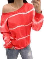 Malaven Women's Casual Long Sleeve Camo/Leopard/Tie Dye/Letter Print Sweatshirts Loose Pullover Tops Shirts