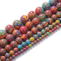 """Natural Stone Beads 4mm Colorful Malachite Beads Gemstone Round Loose Beads Crystal Energy Stone Healing Power for Jewelry Making DIY,1 Strand 15"""""""