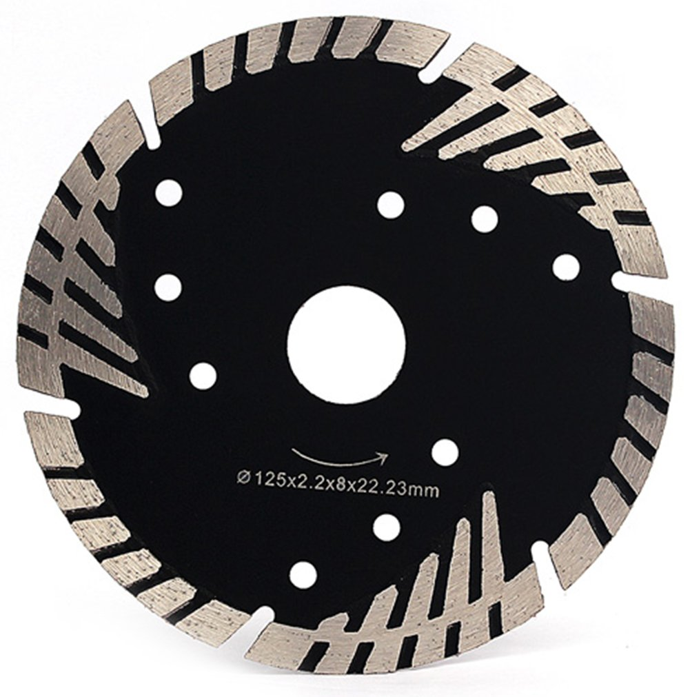 """Z-LION Diamond Saw Blade 5"""" Inch with Cooling Holes, Turbo Diamond Segments Blade for Marble Granite Stone Pavers Concrete Wet/Dry Cutting"""
