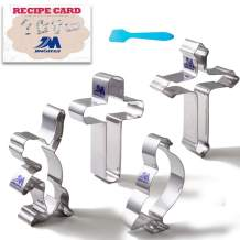 Religious Christmas Cookie Cutter Set with Recipe - 4 Piece - Angel, 2 Cross and Dove - stainless steel