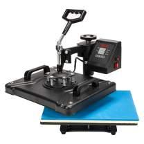 TUFFIOM 5 in 1 Combo Heat Press Machine, 12x15 Inch 360° Swing Away Multifunctional Digital Transfer Sublimation Print, for T-Shirt/Mug/Hat/Plate/Cap, 1250W Black (12x15 inch)