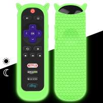 Protective Case for TCL Roku TV RC280 Remote, Silicone Cover Shock Proof Remote Controller Skin, Cute Cat Ear Shape Anti Slip Universal Replacement Sleeve(Glow Green)