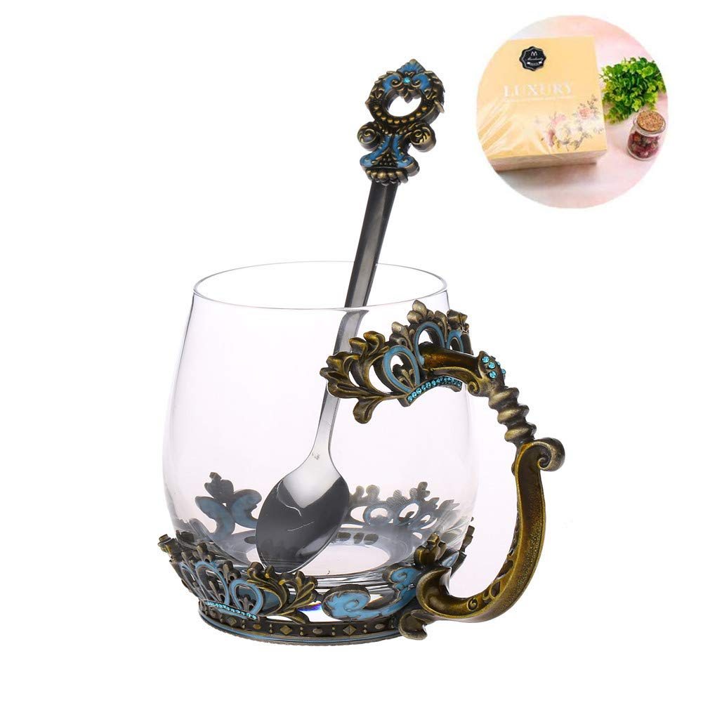 Glass Tea Mug, Mother's Day Gifts, Lead Free Glass Tea Cup with Handle, Unique Crown Enamel Design for Christmas Wedding Birthday Gift Present Idea(Classical Green/10.8Oz)