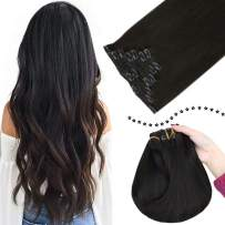 Easyouth 14 Inch Human Clip in Hair Extensions Double Weft Black Clip on Extensions 7 Pieces 90Gram with Clips Natural Black Clip in Real Hair Extension for Women