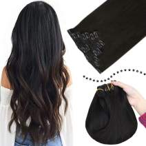 Easyouth Clip in Extensions 20 Inch #1B Off Black 7 Piece Straight Clip in Remy Hair Extensions Double Weft Clip ons Extension Clip on Real Hair Extension for Women 120 Gram/Set