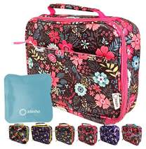 Lunch Box with Ice Pack for Girls Kids, Insulated Bag for Elementary School Kindergarten, Baby Girl Daycare, Container Boxes for Small Kid Snacks Lunches, BPA Free, Pink Blue Flowers