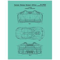 "Inked and Screened SP_AUTO_696,978_BR_24_K Automobiles Et Al Lamborghini No. 1-F. Perini-2012 Print, 18"" x 24"" Blu Raspberry - Black Ink"