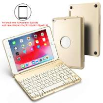 BHUATO Compatible iPad Mini 5 / Mini 4 Keyboard Case 2019 7.9 Inch Wireless Bluetooth 7 Color Backlit Light Thin 130 Degree Flip Smart iPad Keyboard Tablet Protector (Gold)