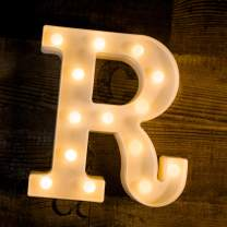 Foaky LED Letter Lights Sign Light Up Letters Sign for Night Light Wedding Birthday Party Battery Powered Christmas Lamp Home Bar Decoration (R)